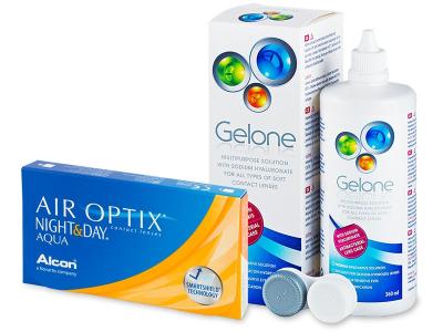 Air Optix Night and Day Aqua (6lentile) +soluțieGelone360ml - Pachet avantajos