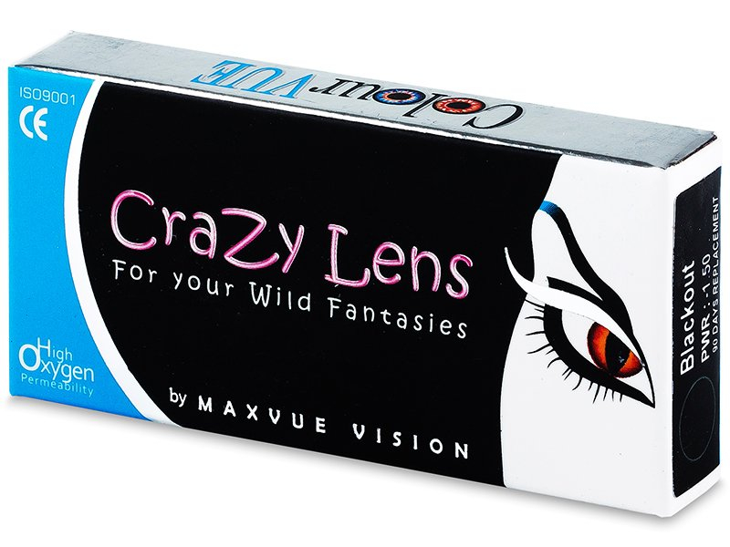 ColourVUE Crazy Lens - BlackOut - cu dioptrie (2 lentile) - ColourVUE Crazy Lens - BlackOut - cu dioptrie (2 lentile)