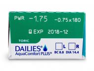 Dailies AquaComfort Plus Toric (30lentile) - vizualizare parametrii