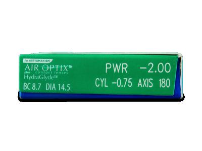 Air Optix plus HydraGlyde for Astigmatism (6lentile) - vizualizare parametrii