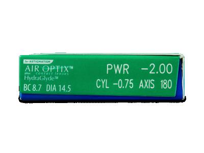 Air Optix plus HydraGlyde for Astigmatism (3 lentile) - vizualizare parametrii