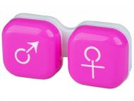 Diferite accesorii pentru întreținerea lentilelor de contact - Suport pentru lentile man&woman - roz