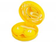 Diferite accesorii pentru întreținerea lentilelor de contact - Casetă cu oglindă-  cu ornament,  galbenă