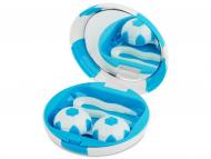 Diferite accesorii pentru întreținerea lentilelor de contact - Casetă cu oglindă Football - albastră