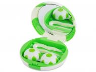 Diferite accesorii pentru întreținerea lentilelor de contact - Casetă cu oglindă Football-verde