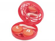 Diferite accesorii pentru întreținerea lentilelor de contact - Casetă cu oglindă-  cu ornament, roșie