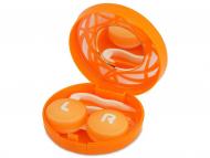 Diferite accesorii pentru întreținerea lentilelor de contact - Casetă cu oglindă-  cu ornament, portocalie