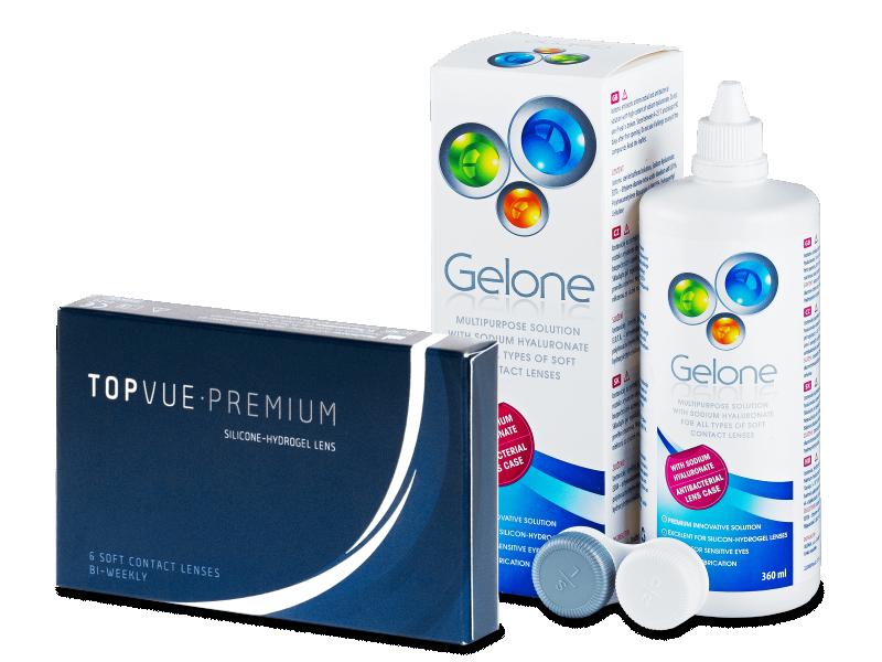 TopVue Premium (6 lentile) + soluție Gelone 360 ml - Pachet avantajos
