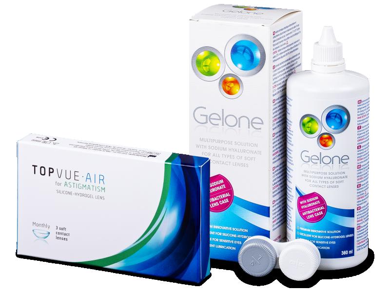 TopVue Air for Astigmatism (3lentile) + soluție Gelone 360 ml - Pachet avantajos