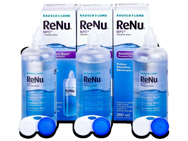 Soluție ReNu MPS Sensitive Eyes 3 x 360 ml  - Pachet economic triplu-soluții