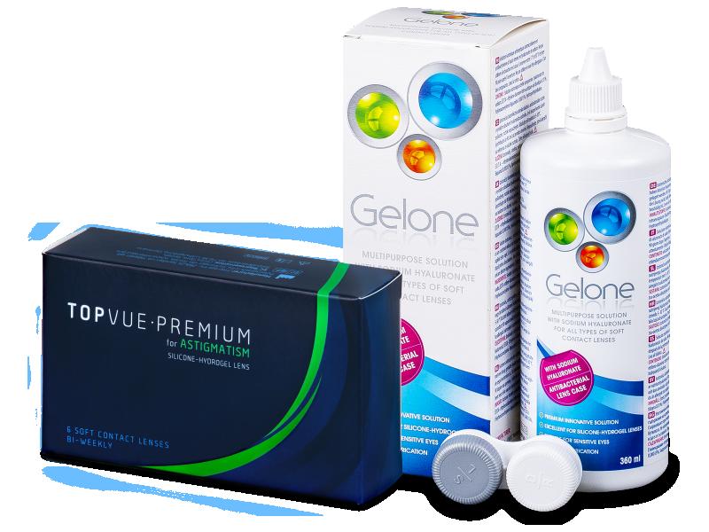 TopVue Premium for Astigmatism (6lentile) +Soluție Gelone 360 ml - Pachet avantajos