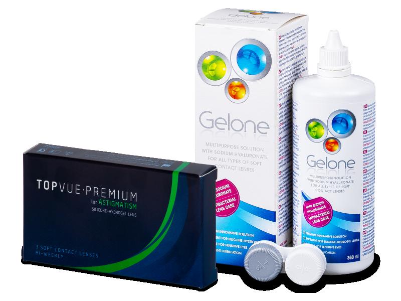 TopVue Premium for Astigmatism (3 lentile) +Soluție Gelone 360 ml - Pachet avantajos