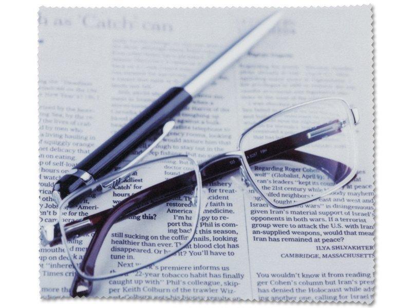 Lavetă pentru curățat ochelarii - ziar