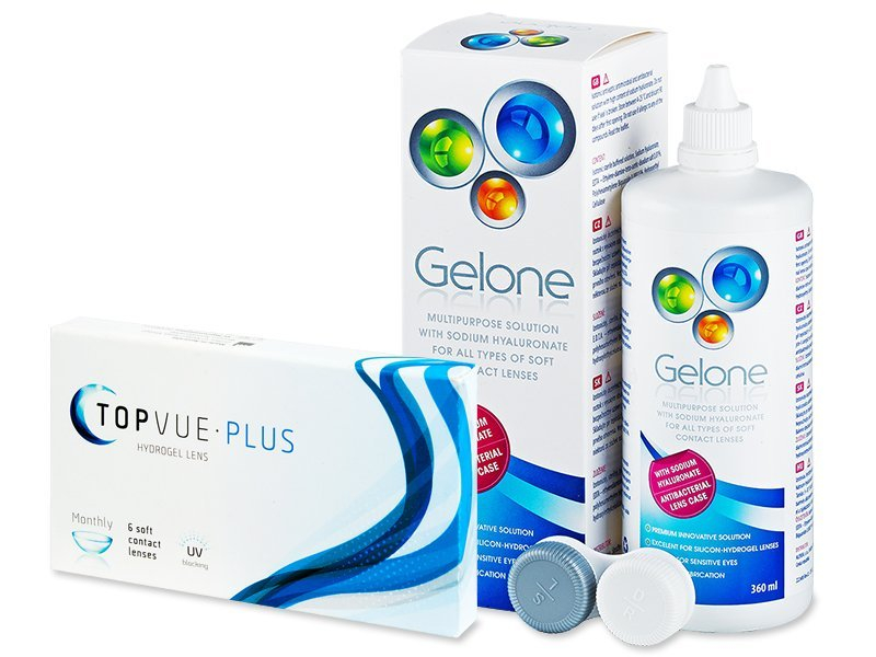 TopVue Monthly Plus (6 lentile) + Soluție Gelone 360 ml - design-ul vechi