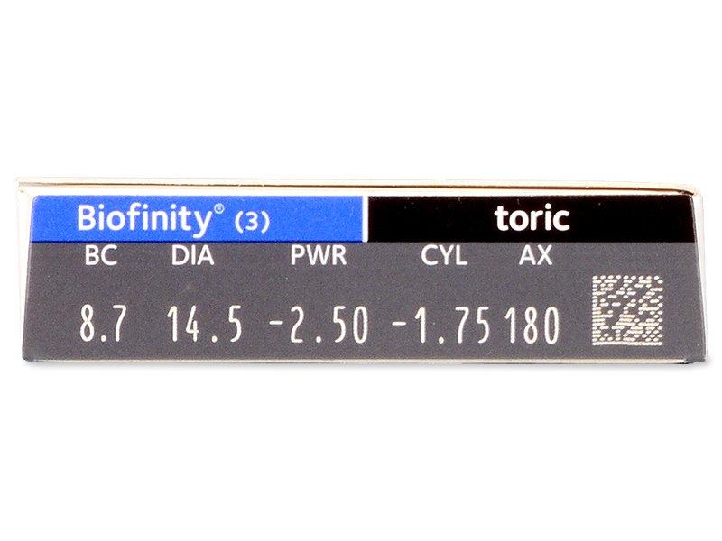 Biofinity Toric (3lentile) - vizualizare parametrii