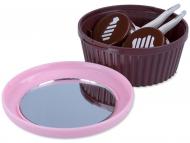 Set pentru lentile de contact - Casetă cu oglindă Brioșă - Roz