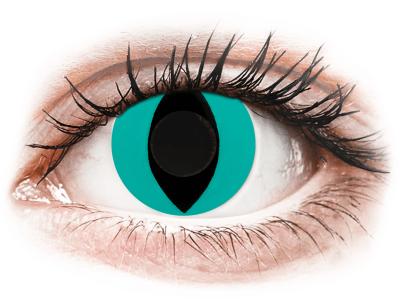 CRAZY LENS - Cat Eye Aqua - lentile zilnice fără dioptrie (2 lentile)