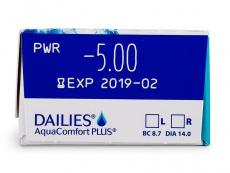 Dailies AquaComfort Plus (30lentile) - vizualizare parametrii