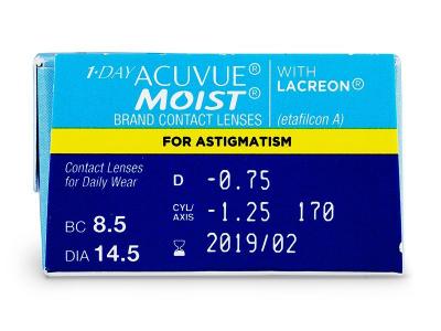 1 Day Acuvue Moist for Astigmatism (30lentile) - vizualizare parametrii