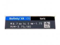 Biofinity XR Toric (3 lentile) - vizualizare parametrii